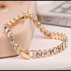 New 3mm Gold Crystal Zircon Chain Bracelet